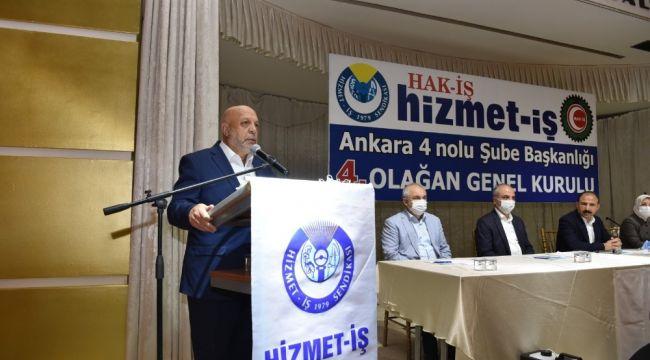 """Hak-İş Genel Başkanı Arslan: """"Üyelerimizin kanun zoruyla bir başka sendikaya üyeliğe zorlanmasını istemiyoruz"""""""